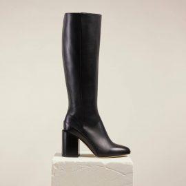 Dear Frances - Black Leather Knee High Boots