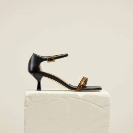Dear Frances - Black Mid Heel All Day Summer Heels With Slender Straps