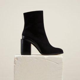 Dear Frances - Black Suede Block Heel Ankle Boots