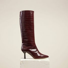 Dear Frances - Brown Croc Leather Pull On Pointed Toe Knee High Boots