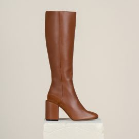 Dear Frances - Brown Leather Block Heel Zip Up Knee High Boots