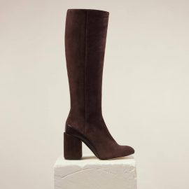Dear Frances - Brown Suede Leather Knee High Block Heel Boots