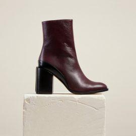 Dear Frances - Burgundy Leather Block Heeled Slim Fit Ankle Boots