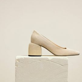 Dear Frances - Classic Suede Leather Mid-height Block Heel Pump With Modern Square Toe