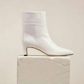 Dear Frances - Comfortable White Soft Leather Pull On Pointed Ankle Boots