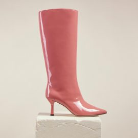 Dear Frances - Pink Patent Leather Pull On Pointed Toe Knee High Boots