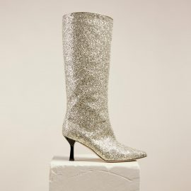 Dear Frances - Shiny Glitter Leather Pull On Pointed Toe Knee High Boots