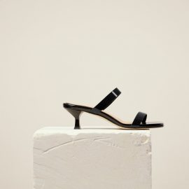 Dear Frances - Summer Mid Height Black Double Strap Heels With Modern Square Toe