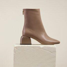 Dear Frances - Women's Asymmetric Toe Shape Low Block Heel Leather Ankle Boots