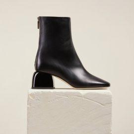 Dear Frances - Women's Black Asymmetric Toe Shape Low Block Heel Leather Ankle Boots