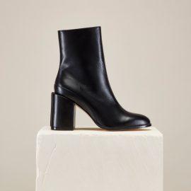 Dear Frances - Women's Black Block Heel Leather Ankle Booties Spirit Boots