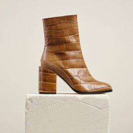 Dear Frances - Women's Brown Croc Print Leather Block Heeled Ankle Boots