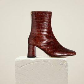 Dear Frances - Women's Brown Square Toe Block Heel Croc Leather Ankle Boots