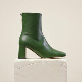 Dear Frances - Women's Designer Square Toe Block Heel Green Leather Ankle Boots