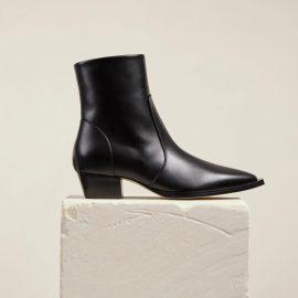 Dear Frances - Women's Modern Black Leather Westernâ Ankle Boots With Hidden Zippe