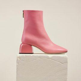 Dear Frances - Women's Pink Asymmetric Toe Shape Low Block Heel Leather Ankle Boots