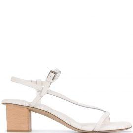 Del Carlo diagonal strap block heel sandals - White