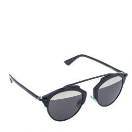 Dior Black/ Grey & Silver Mirrored SoReal Round Sunglasses