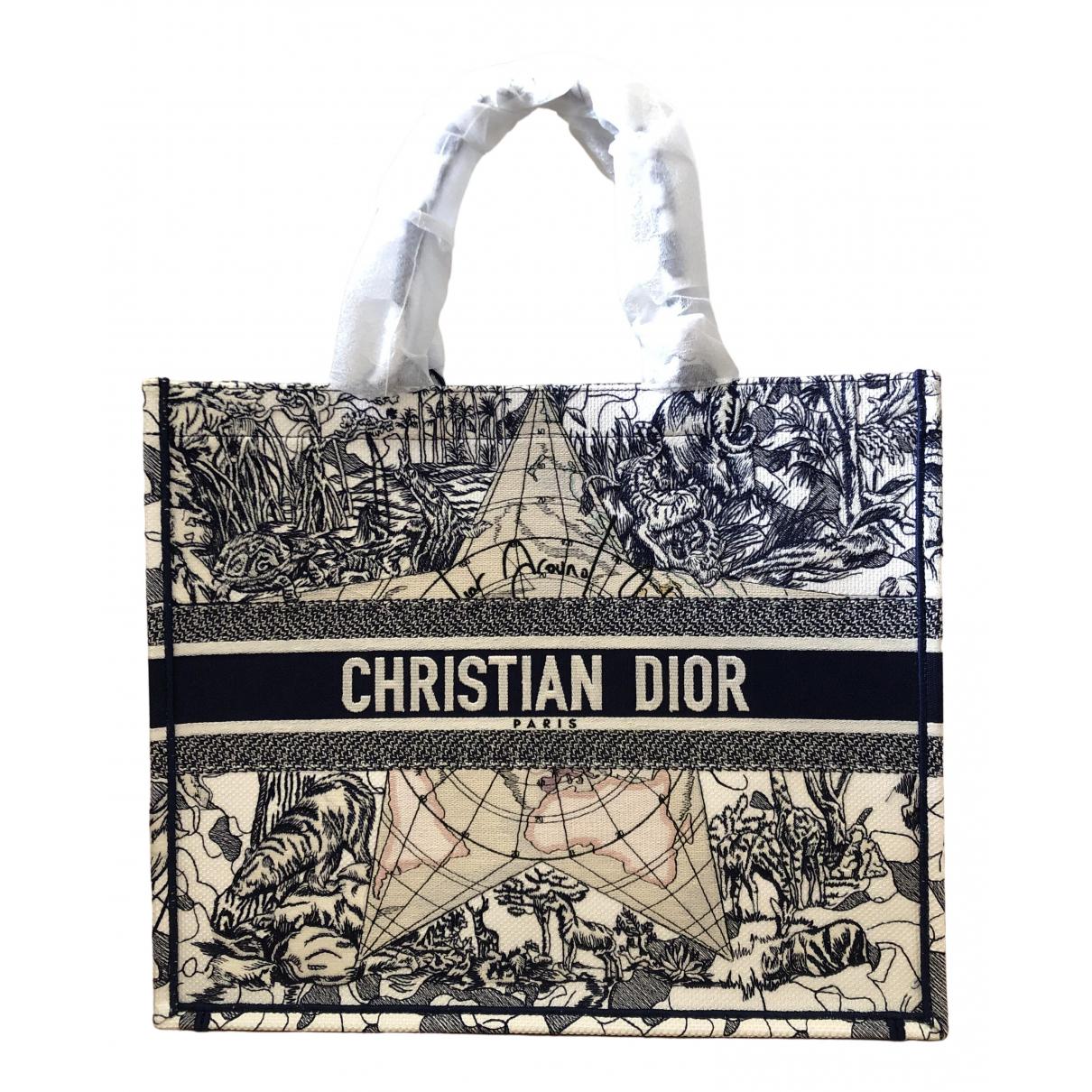 Dior Book Tote Blue Cloth Handbag for Women