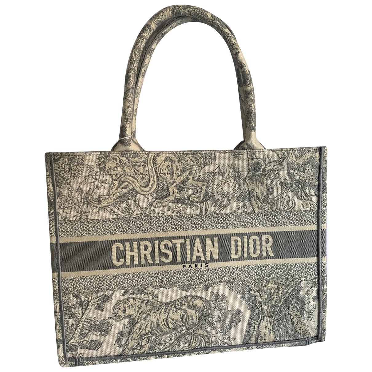 Dior Book Tote Grey Cloth Handbag for Women
