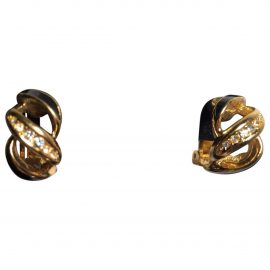 Dior Vintage Christian Dior Gold-tone Enamel & Swarovski Crystal Clip-on Earrings