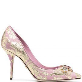 Dolce & Gabbana 90mm embellished brocade pumps - Pink
