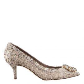 Dolce & Gabbana Beige Taormina Lace Crystal Embellished Pumps Size EU 37.5