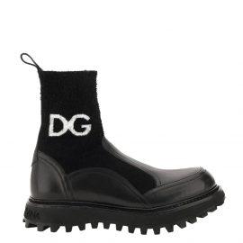 Dolce & Gabbana Black Horse calfskin branded sock Ankle Boots Size IT 44