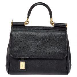 Dolce & Gabbana Black Leather Medium Sicily Top Handle Bag