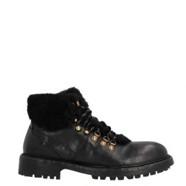Dolce & Gabbana Black Leather/Wool Cowhide and Merino Hiking Boots Size EU 44
