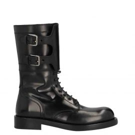 Dolce & Gabbana Black Polished calfskin combat Boots Size EU 40
