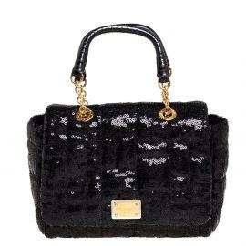 Dolce & Gabbana Black Sequin Small Sicily Top Handle Bag