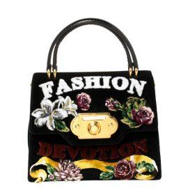 Dolce & Gabbana Black Velvet and Python Handle Welcome Fashion Devotion Top Handle Bag