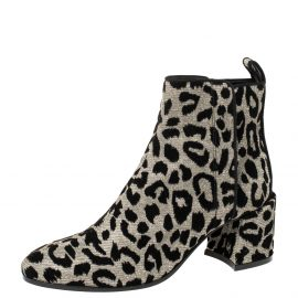Dolce & Gabbana Black/Gold Lurex and Velvet Vally Ankle Boots Size 37