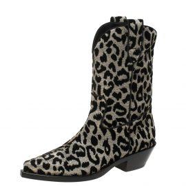 Dolce & Gabbana Black/Grey Shimmering Leopard Laurex Fabric Cowboy Boots Size 38