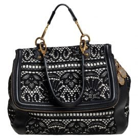 Dolce & Gabbana Black/White Lace and Leather Large Miss Sicily Top Handle Bag