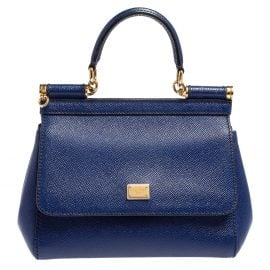 Dolce & Gabbana Blue Leather Small Miss Sicily Top Handle Bag