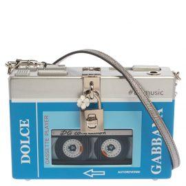 Dolce & Gabbana Blue/Silver Wood Walkman Box Clutch Bag