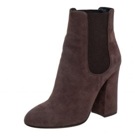 Dolce & Gabbana Brown Suede Chelsea Block Heel Ankle Boots Size 36