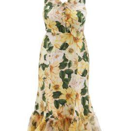 Dolce & Gabbana - Camellia-print Ruffled Silk-blend Midi Dress - Womens - Yellow Multi