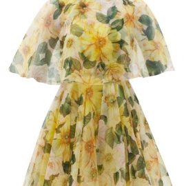 Dolce & Gabbana - Caped Camellia-print Silk-organza Mini Dress - Womens - Yellow Print