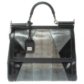 Dolce & Gabbana Colorblock Snakeskin Large Miss Sicily Top Handle Bag
