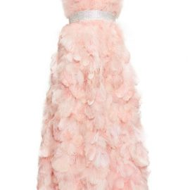 Dolce & Gabbana - Crystal And Feather-embellished Silk-organza Gown - Womens - Light Pink