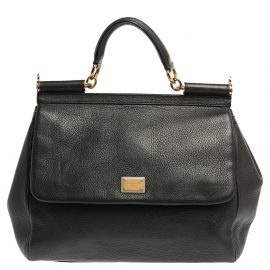 Dolce & Gabbana Grey Leather Large Miss Sicily Top Handle Bag