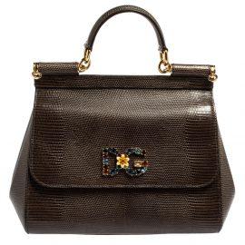 Dolce & Gabbana Grey Lizard Embossed Leather Medium Miss Sicily Bag