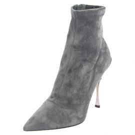 Dolce & Gabbana Grey Suede Pointed Toe Booties Size 40