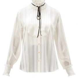 Dolce & Gabbana - High-neck Stripe-jacquard Silk-blend Blouse - Womens - White