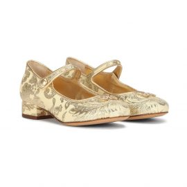 Dolce & Gabbana Kids Lamé brocade mary jane ballerinas - Yellow