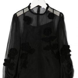 Dolce & Gabbana Kids embroidered sheer blouse - Black