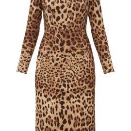 Dolce & Gabbana - Leopard-print Off-the-shoulder Wool-crepe Dress - Womens - Leopard